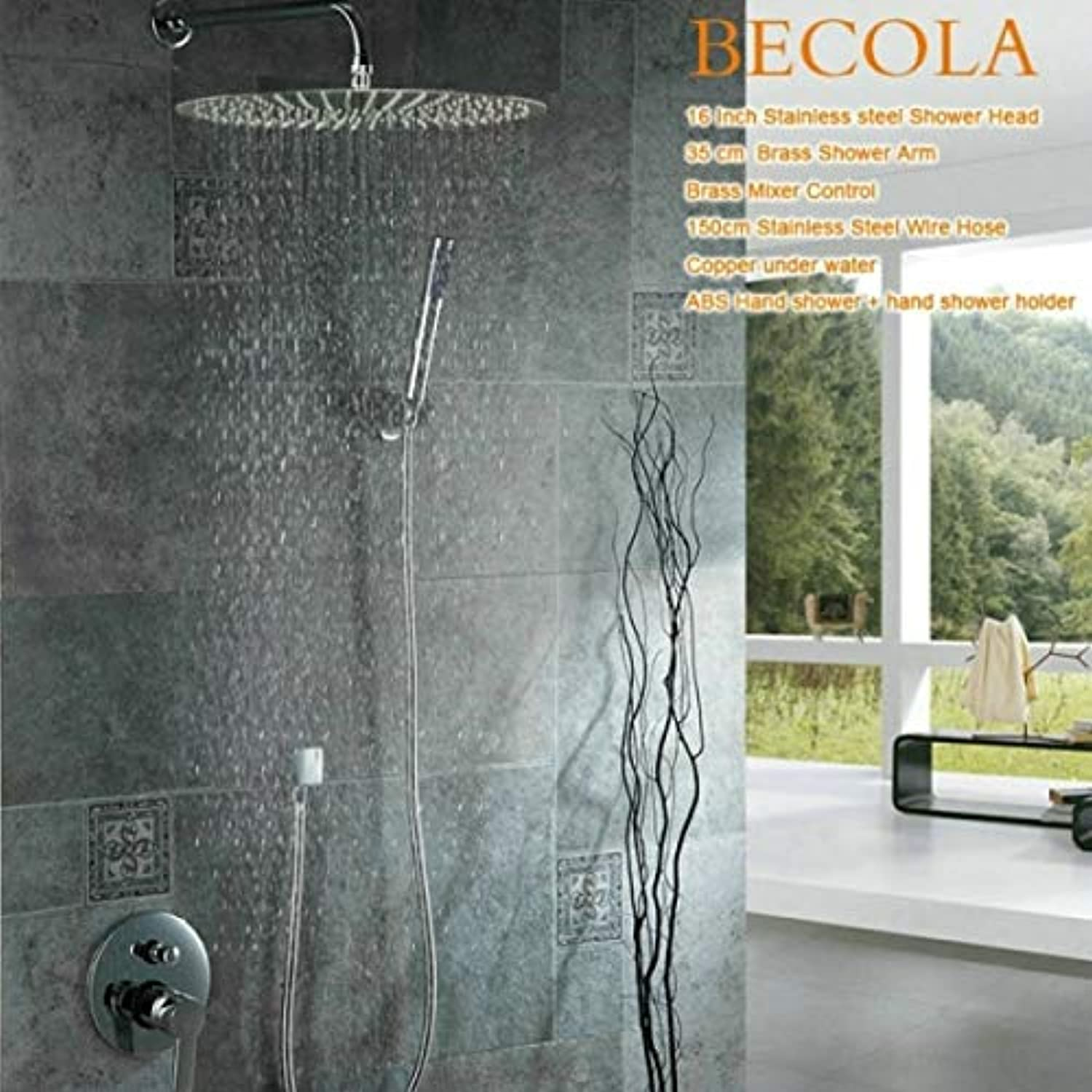 Free shipping becola 8 10 12 16 inch shower set wall mounted stainless steel rainfall head chrome shower faucet kit,16 inch shower set