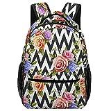 Mochila escolar Black White Mosaic Stripes Rose Flowers Backpack Bookbag Teens Childrens Adjustable School Bag College Students For Book, Clothes
