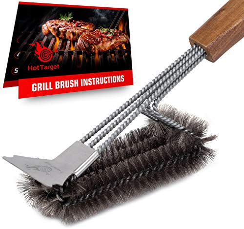 HOT TARGET Grill Brush and Scraper with Safe 18' Extended, Large Wooden Handle and Stainless-Steel Bristles – No Scratch Cleaning for Any Grill: Char Broil & Ceramic
