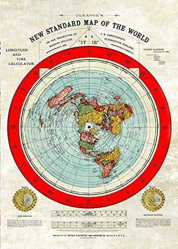 Flache Erde Karte -Flat Earth Map - Gleason's New Standard Map of The World - Large A1 33.1 x 23.4