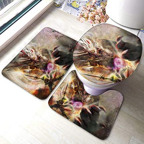 dsfkdouhguifdhviudfos Toukiden Kiwami Badezimmer Antirutsch-Polster Rutschfester Badteppich Bodenmatte Teppich 3 Sätze -Fußmatte + U-förmiges Pad + EIN O-förmiger Bezug