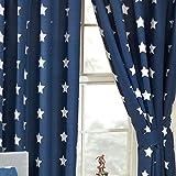 Price Right Home - Cortinas con forro de estrellas azul marino y blanco (168 cm x 183 cm)