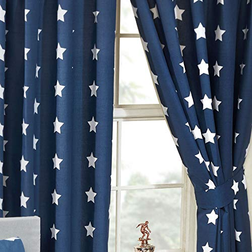 Price Right Home - Cortinas con forro de estrellas azul marino y blanco (168 cm x 183 cm)