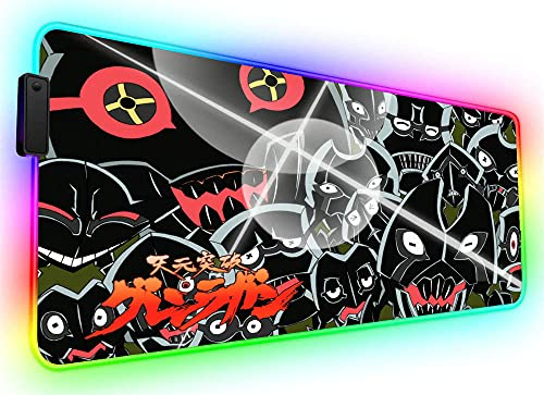 Gaming Mouse Pads Black Grey Red Big Size RGB Mouse Mat Gamer Cool Anime Computer Gaming Desk Mat LED Laptop Accessories for Office Home XXL 900X400Mm