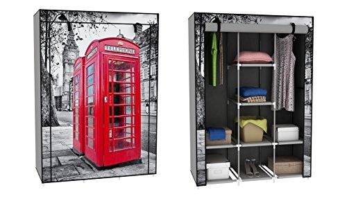 Trendy-Home24 Stoffschrank Kleiderschrank mit roter Telefonzelle Motiv London 6 Fächer 2 Stangen