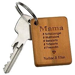 Schlüsselanhänger- Beste Mama: Schlüsselbund Anhänger aus Holz mit Gravur für Mami zum Muttertag- personalisiert mit Namen- persönliche Geschenke zum Muttertag selbst gestalten