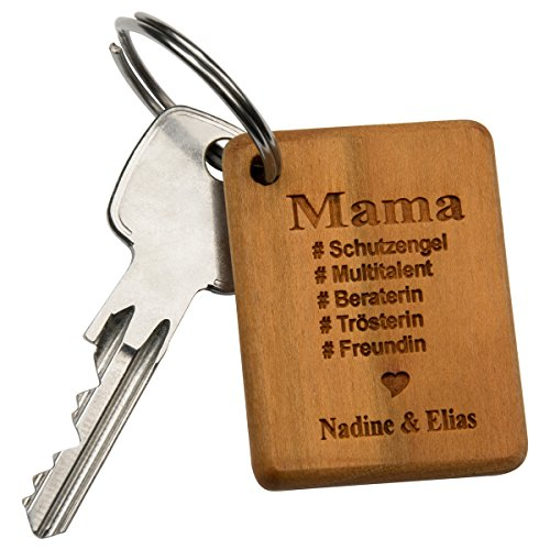 Sleutelhanger- Beste Mama: Sleutelhanger van hout met gravure voor Mami voor Moederdag - gepersonaliseerd met naam - persoonlijke geschenken voor Moederdag zelf maken