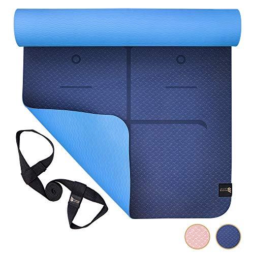 SUPERLETIC Yoga-Matte Professional aus TPE, rutschfest, Anti-allergisch, schadstofffrei, 100{f66bb937b7a607269a831a6d7c60a911c88431eeb52e2efebbff6e46f10fda5a} biologisch abbaubar, 183 x 61 cm, 5 mm stark, mit Trage-Gurt