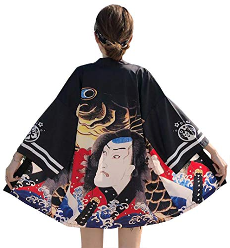 DOVWOER Sommer Damen Kimono Cardigan Strand Bikini Cover Up 3/4 Arm Lose Casual Leichte Jacke