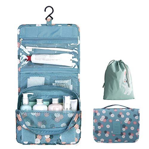 OrgaWise Kulturtasche zum Aufhängen Waschtasche Unisex Kosmetiktasche Reise-Tasche für Herren und Frauen für Koffer & Handgepäck Urlaub Waschbeutel Toiletry Bag,Blau-Daisy