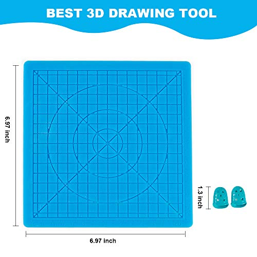 Personal design 3D Printer Pen Silicone Design Matt,Food Grade,Heat Resistant,3D Pen Drawing Tools/Molds, with 2 Silicone Finger Caps (Basic Template3-Blue)