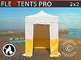 Dancover Tente Pliante Chapiteau Pliable Tonnelle Pliante Barnum Pliant FleXtents® Pro 2x2m, PVC, Tente de Chantier, Ignifuge, 4 parois latérales incluses
