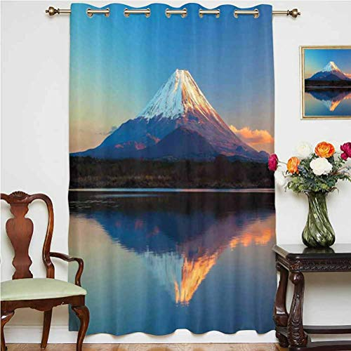 The Far East Nature Decor Shading Curtains Mount Fuji and Lake Shoji Picture Clear Sky Sunset Photo Print Thermal Backing Sliding Glass Door Drape ,Single Panel 52x84 inch,for Kid's Room