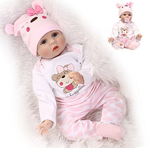 NPK Reborn Baby Doll Girl 22' Look Real Silicone Vinyl Handmade Weighted Pink Outfit Eyes Open Cute Doll Gift Set for Ages 3+