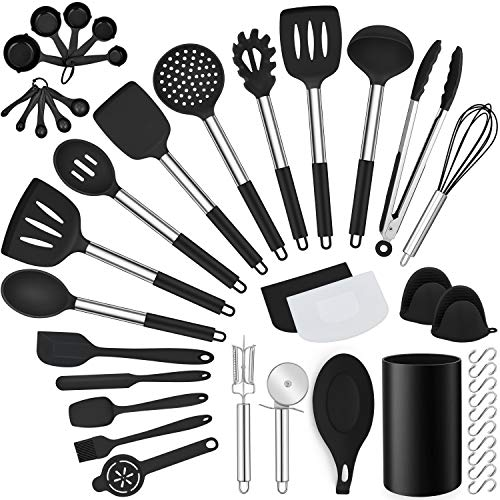 LIANYU 43 Pcs Kitchen Cooking Utensils Set, Silicone Cooking Utensils Spatula Set with Holder, Heat Resistant Kitchen Gadgets Tools for Nonstick Cookware Set, Stainless Steel Handle, Black