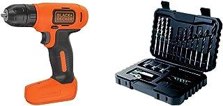BLACK+DECKER 7.2 V Cordless Compact Cordless Drill Power Tool, BDCD8-GB with BLACK+DECKER Drilling and Screwdriver Bit Set...