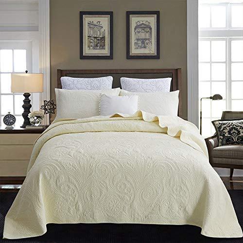Tagesdecke / Überwurf-Bettdecke aus 100prozent Baumwolle Steppdecken-Bettwäscheset 3PCS Stickerei Gesteppte Bettdecke Kissenbezug-Bettdecke Multifunktionsblätter , Vier Jahreszeiten verfügbar, Beige-SuperKi