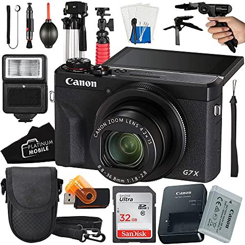 Canon PowerShot G7 X Mark III Digital Camera 20.1MP Sensor + SanDisk 32GB Card + Tripod + Case + Slave Flash Light + Pistol Grip + MegaAccessory Bundle (16pc Bundle)