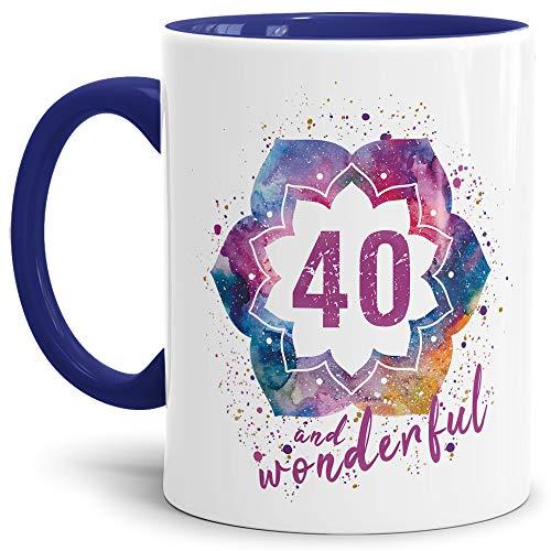 Tassendruck Geburtstags-Tasse 40 and Wonderful Geburtstags-Geschenk zum 40. Geburtstag als Geschenkidee für die Frau/Abstrakt/Bunt/Kaffeetasse/Innen & Henkel Dunkelblau