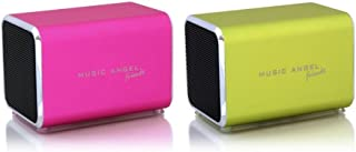 Music Angel Friendz Speaker Twin Pack Bundle for iPhone/iPad/iPod/Mp3/Laptop/Smartphone - Pink/Lime