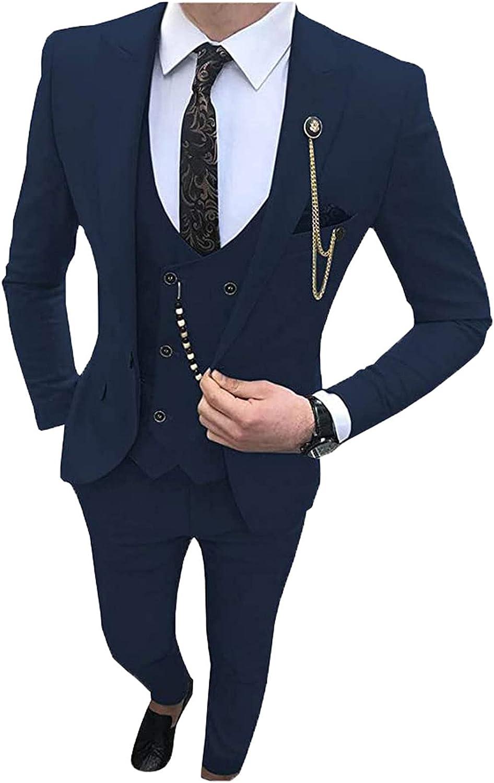 70ILY Fashion Men's Suits Slim Fit 3 Pieces Prom Tuxedos Notch Lapel Groomsmen Wedding