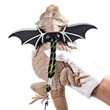 WATFOON Adjustable Lizard Leash Bearded Dragon Harness Soft Leather Cool Wings Training Leashes for Reptiles Leopard Gecko Anole Hamster Rats Rabbit Bird Small Pet Animals (L, Black Green)
