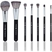 Pinkzio Makeup Brush Set   7 Piece Professional Set For Face & Eyes Incredible Luxurious Soft Makeup, Best For Blend, Buff And Contour, Synthetic Fibre For Face and Horse Hair For Eyes, Ideal Gift
