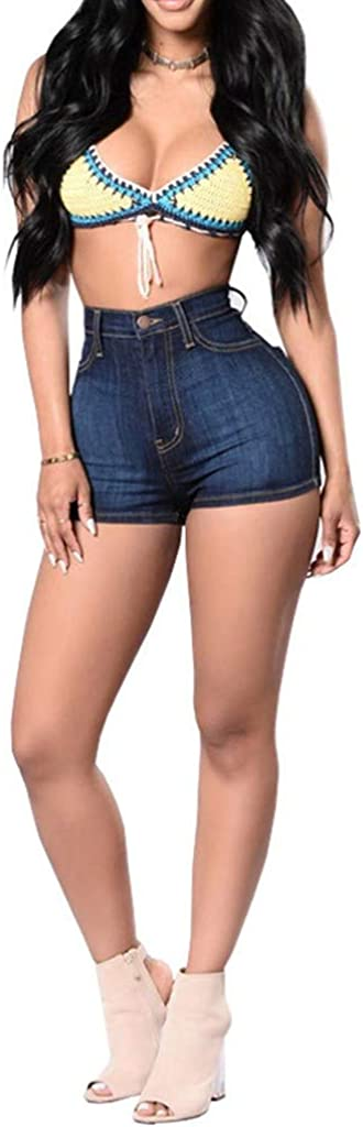 Forthery Womens Women Summer Casual Mid Waist Stretchy Denim Jean Shorts Junior Short Jeans with Pockets