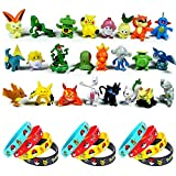 OMZGXGOD 24 Piezas Pokemon Monster Mini Figure 2-3cm in Random+12 Piezas Pulsera de...