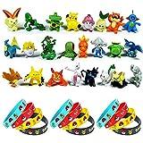 OMZGXGOD Pokemon Figuren,Pokémon Pearl Minifiguren (24 Stück) Und Pokémon Silikon Armband (12...