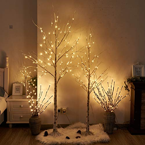 PEIDUO Easter Birch Tree Combo Kit, 5 Feet and 6 Feet, Pack of 2,Perfect for Indoor Outdoor Decor Garden Wedding Party Bedroom Decoration 5FT 6FT Branch Tree