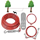 SHUNAI Dog Tie Out Cable Set -100 Ft Dog Run Aerial Trolley System with 10 Ft Pulley Runer Line - Runer System Heavy Duty for Dogs Up to 125Lbs No Hurt to Trees Design