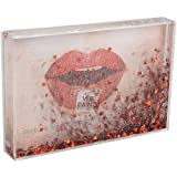 fisura. DC0814 Cadre-Photo Paillettes Rouges Coeurs pour 1 Photo 10x15 cm Transparent 2,2 x 10,5 x 15,5 cm