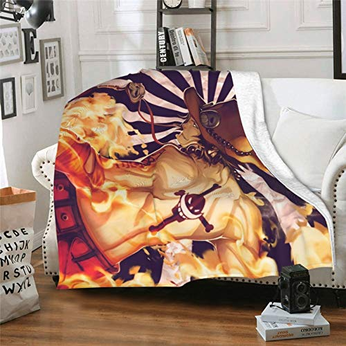 xuxirthv Classic Ultra-Soft Micro Manga Blanket with 80 x 60 in, Folding Dirt-Resistant Japanese Anime One Piece Portgas D. Ace Bed Blanket, Cool Beach Blanket for Kids Couch Bed