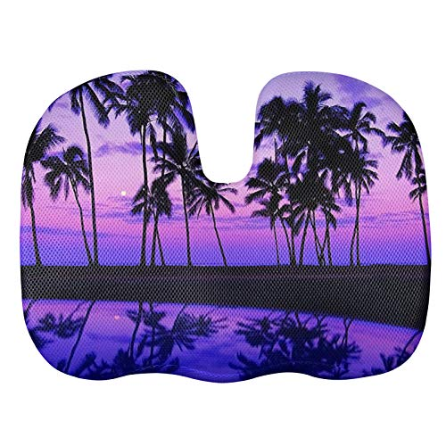 ZERODATE Gel Office Chair Cushion for Pressure Relief Tailbone Pain Relief Cushion Sunset Palm Tree Butt Pillow for Car,Airplane,Wheelchair,Desk,Office Chair Purple Gift