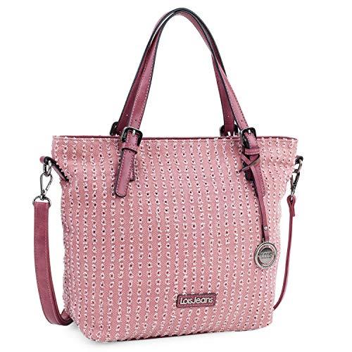 Lois - Bolso Grande Tipo Shopping de Mujer. 2 Asas Largas y Bandolera. Lona Estampada y Cuero PU. para Compras o Viaje. Diseño 306681, Color Rosa