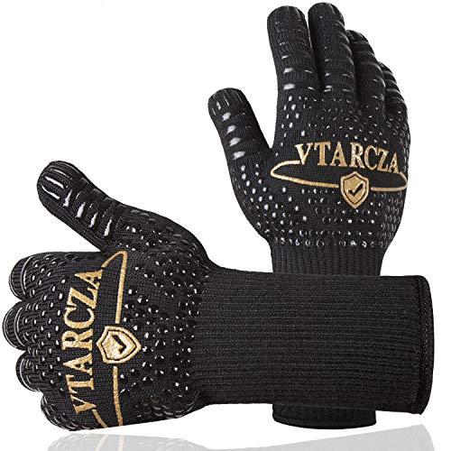 VTARCZA Grillhandschuhe Hitzebeständig bis zu 800°C, Ofenhandschuhe BBQ Kochenhandschuhe Backhandschuhe Hitzefeste Handschuhe Universalgröße – rutschfeste Silikonbeschichtung – Extra Langer Saum