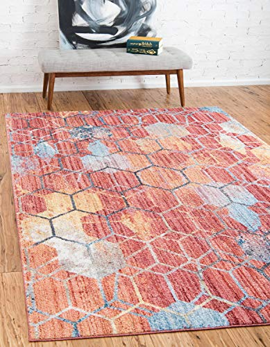 Unique Loom Rainbow Collection Geometric Abstract Trellis Modern Watercolor Red Area Rug (5' 3 x 7' 9)
