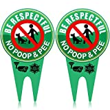 2 Pieces No Poop Dog Signs No Poop and Pee Sign Luminous Be Respectful Sign Yard Dog Sign with Stake Glow in The Dark Dog Signs for Yard Garden