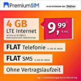 Handyvertrag PremiumSIM LTE M - ohne Vertragslaufzeit (FLAT Internet 4 GB LTE mit max. 50 MBit/s mit deaktivierbarer Datenautomatik, FLAT Telefonie, FLAT SMS und EU-Ausland, 9,99 Euro/Monat) -