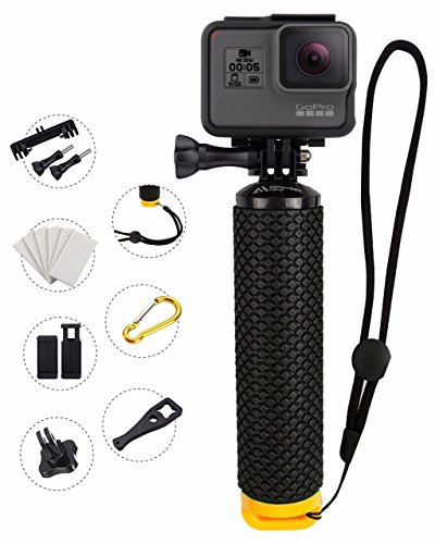 MiPremium Waterproof Floating Hand Grip Compatible with GoPro Cameras Hero 8 7 6 5 4 3 2 1 Session Black Silver Handler Plus Free Handle Mount Accessories for Water Sport and Action Cameras (Yellow)