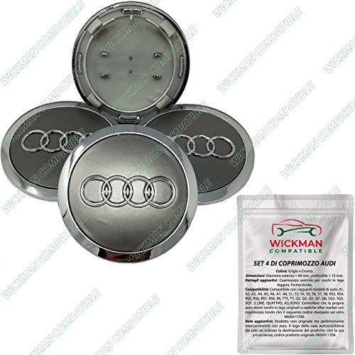 Set mit 4 Radzierblenden für Audi – grau, Chrom-Logo, 69 mm Durchmesser – von Wickman - kompatibel – hergestellt und versendet aus Italien.