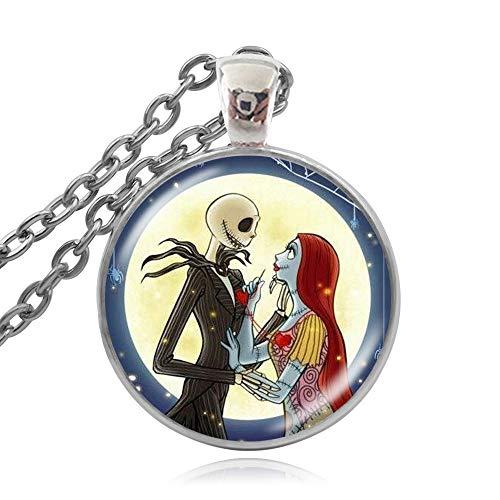Collar con colgante de cabujón de cristal de Jack y Sally Pesadilla antes de Navidad