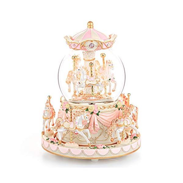 Carousel Snow Globe Music Box - 8 Horse Blue Snowglobe Anniversary Christmas Birthday Gift for Wife Daughter Girlfriend… 3