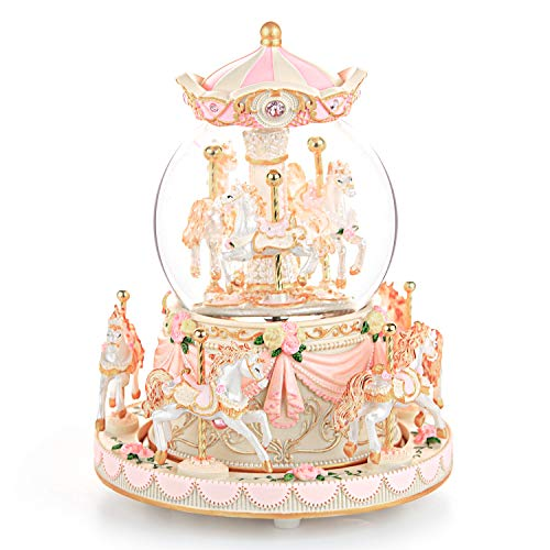 Carousel Snow Globe Gift, Music Box with Light 8-Horse Windup Musical Christmas Valentine Birthday...
