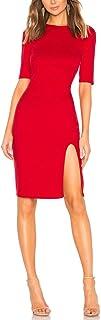 JLCNCUE Women Short Sleeve Elegent Red Dress Side Slit Bodycon Party Dress 71858