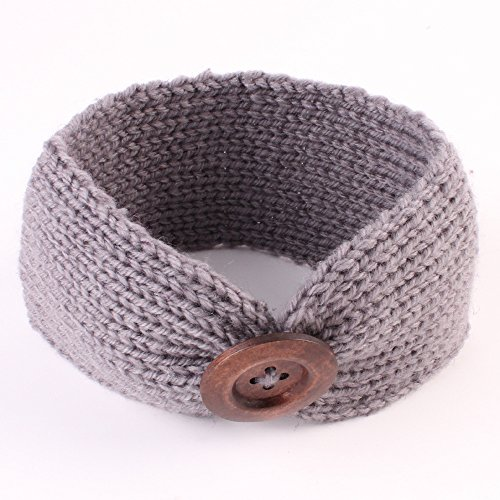 El Regalo's Baby Woolen Knitting Infant Button Headbands Turban Head Wrap Knotted Hair Band for Girls & Boys (Gray)