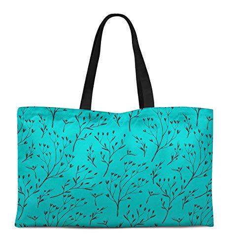S4Sassy Verde hoya kerrii hojas Bolso grande de lona estampado para compras...