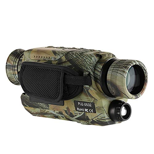 BOBLOV Night Vision Monocular with 16G Cards, Digital Infrared Night Scope for Hunting, 5x32 Monocular with Camera & Camcorder, 200Yards Full Dark, Camouflage with Extra Fliter for Day (Camouflage)