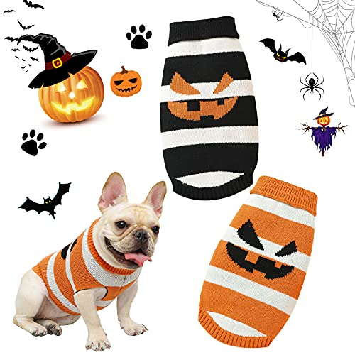 Disfraz de Halloween para perro, ropa de calabaza para mascotas, forro polar, abrigo de invierno, sudadera con capucha, trajes cálidos para perros pequeños y medianos
